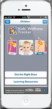 Pantalla del teléfono con Seguimiento de bienestar de los niños