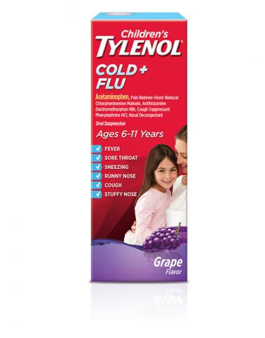 Childrens TYLENOL® Cold and Flu Oral Suspension grape flavor