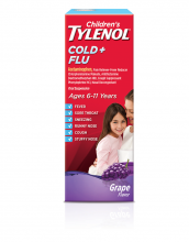 Childrens TYLENOL® Cold and Flu Oral Suspension grape flavor