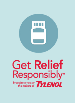 tylenol get relief responsibly with bottle icon